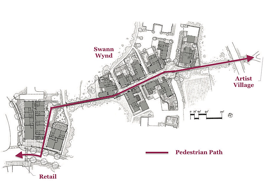 An overview of the plan for Swann Wynd showing the footpath that intersects the neighborhood. All positioned amongst dense forest.