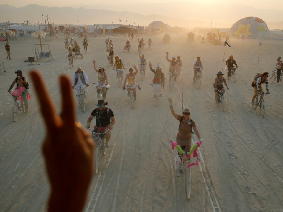Looking like a scene out of Mad Max, Burning Man attracts a diversity of people including tech billionaires Jeff Bezos, Elon Musk and Mark Zuckerberg.