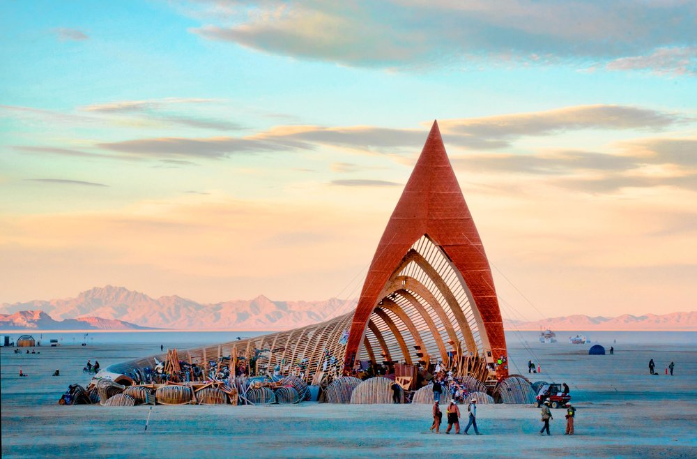 Elaborate, one-of-a-kind temporary structures define the Burning Man landscape.