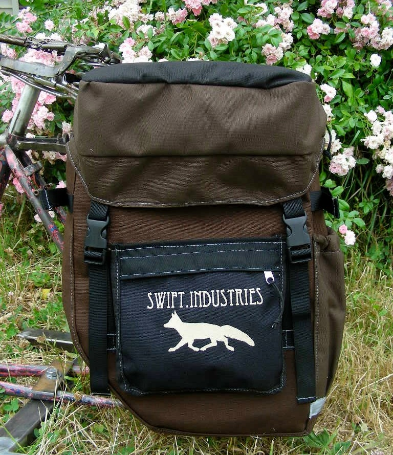 """""""We liked the stealthiness of the swift fox. It's a lot like people on bikes—their impact is low and they can go just about anywhere, even cross-country."""" - A 2009 profile of Swift Industries Homespun Panniers and Accessories"""