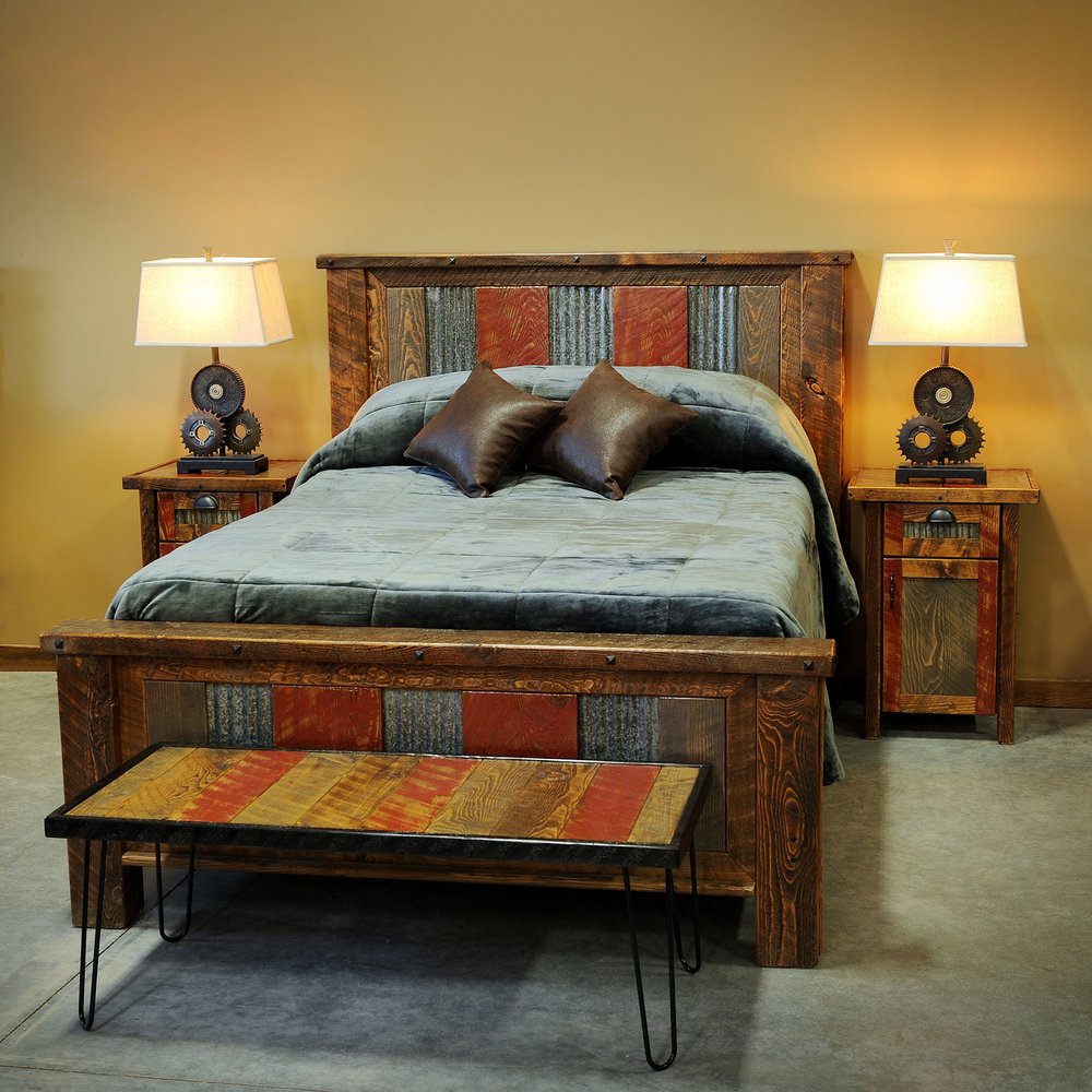 arizona  This bed is made with reclaimed tin and the signature red, smoke and brown coloring.