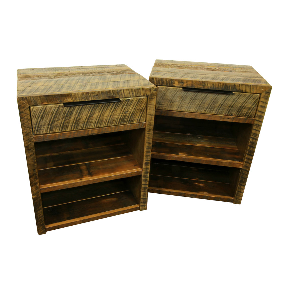 cascade night stand  Shown in reclaimed barnwood. Part of the Cascade collection.