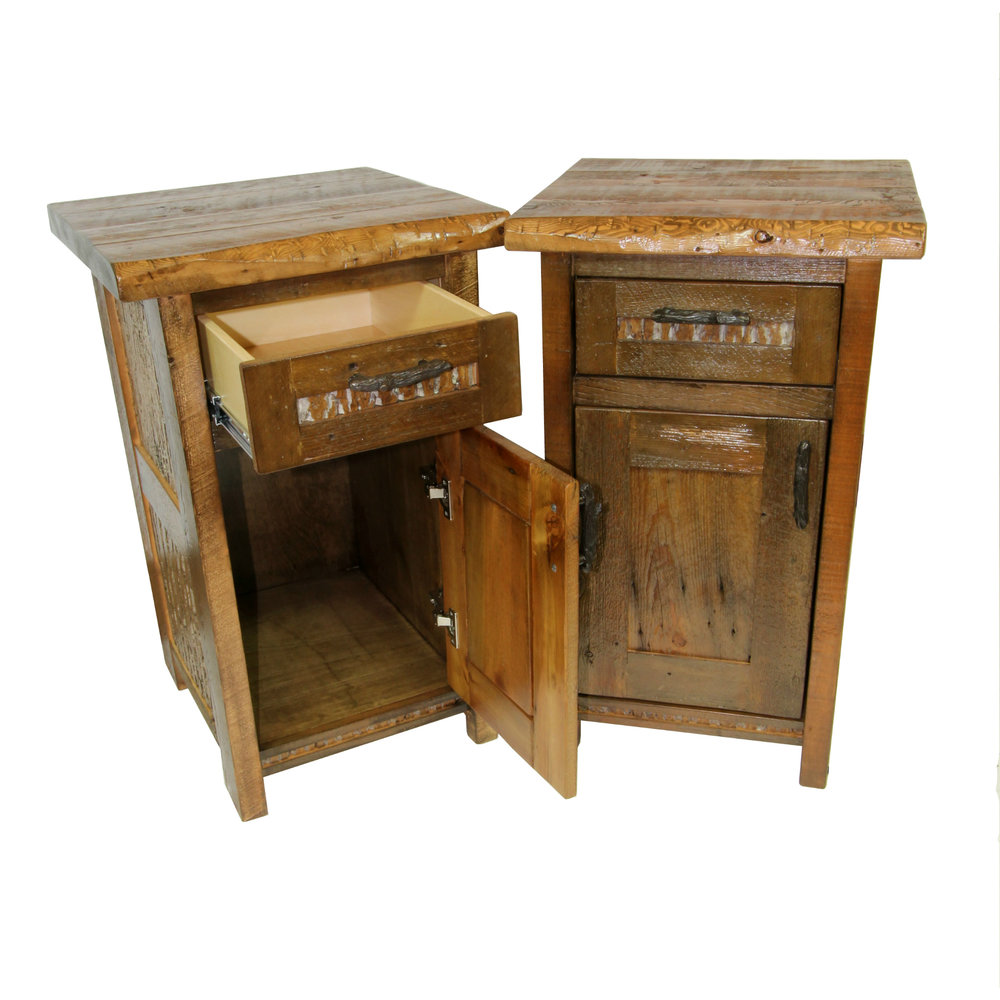 mountain side cabinet night stand  Shown in reclaimed barnwood with bark inlay and live edge. Part of the Mountain Side collection.