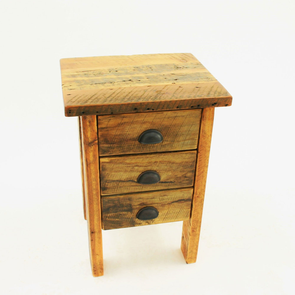 1 drawer night stand  Shown in reclaimed barnwood with a thick top