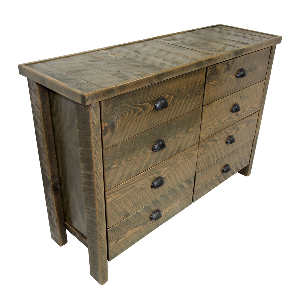 traditional 8 DRAWER dresser  Shown in rough sawn - smoke with an inlay top.