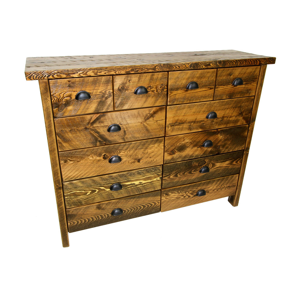 traditional 10 drawer dresser  Shown in rough sawn - rustic brown with a thick top. Includes partitioned top drawers.