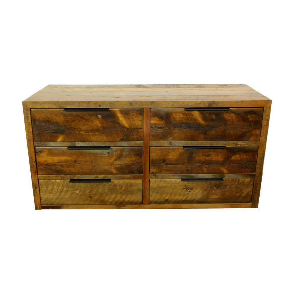 cascade dresser  Shown in reclaimed barnwood. Features recessed handles in black. Part of the Cascade collection.
