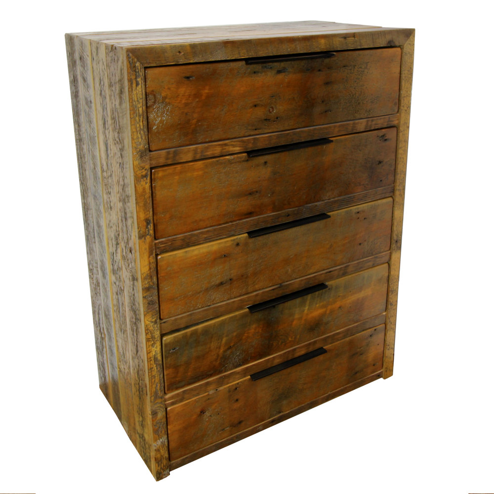 CASCADE dresser  Shown in reclaimed barnwood. Available in 4, 5 or 6 drawers. Part of the Cascade collection.
