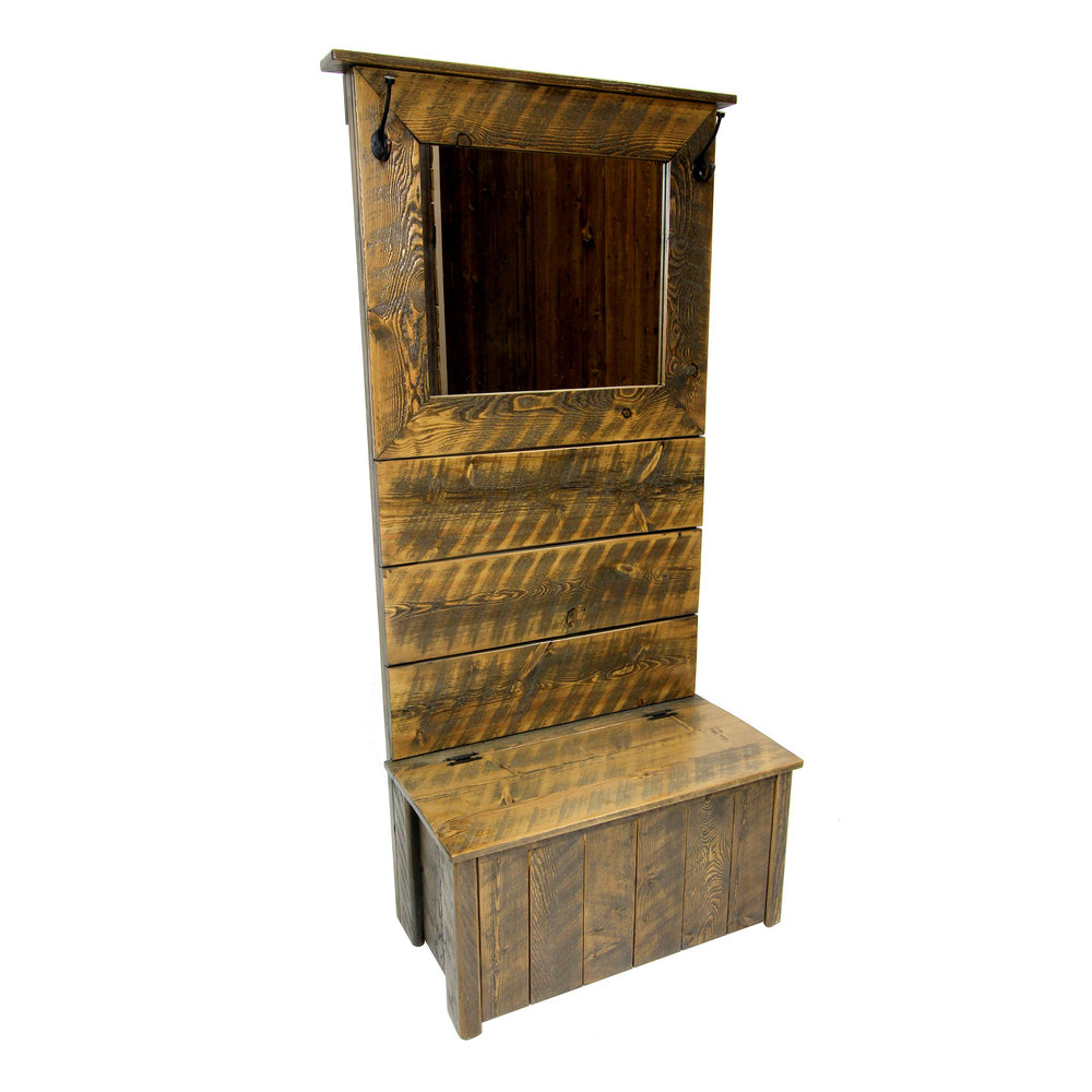 traditional hall tree with mirror  Shown in rough sawn - rustic brown.