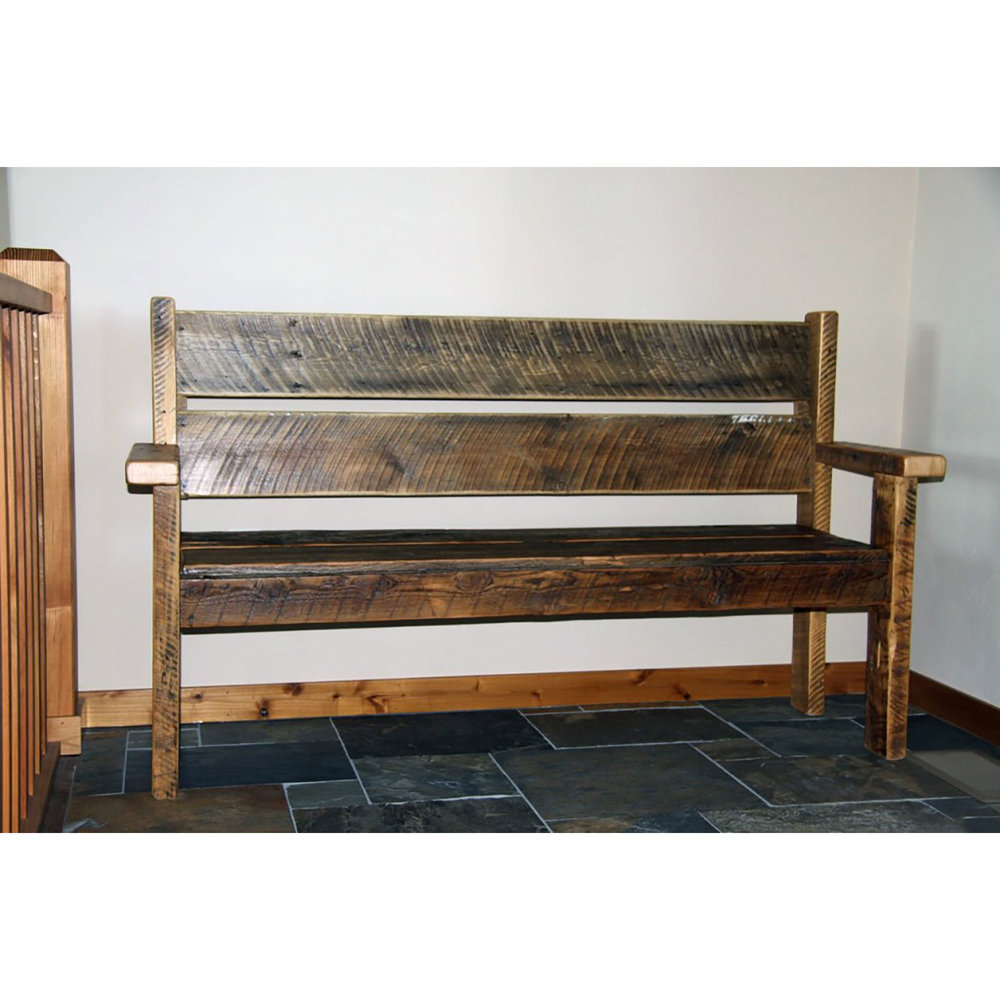 traditional entry bench  Shown in reclaimed wood.