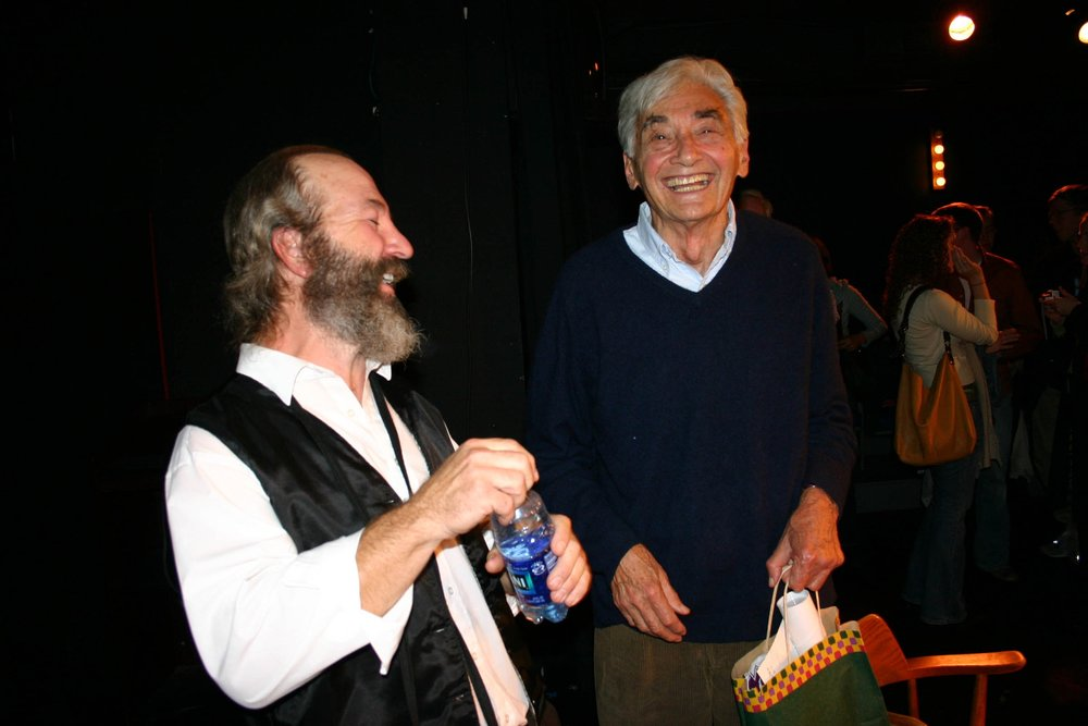 Bob Weick and Howard Zinn after a Performance of Marx in Soho - 2004