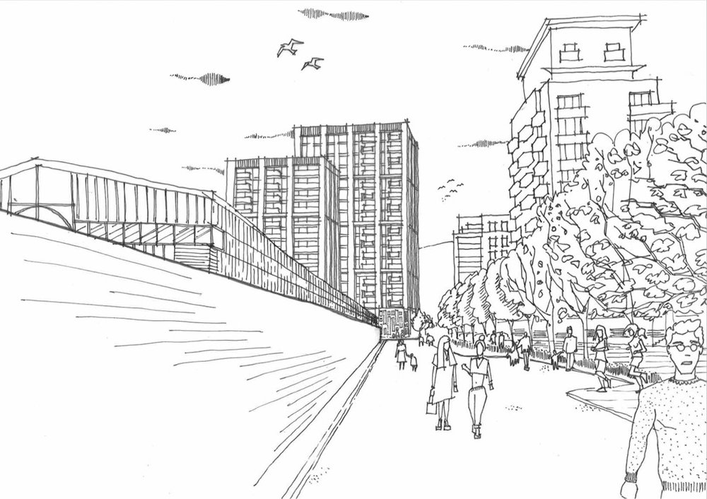 View of proposed redevelopment from Tarves Way