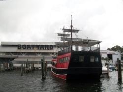 ship at boat yard on a gray day