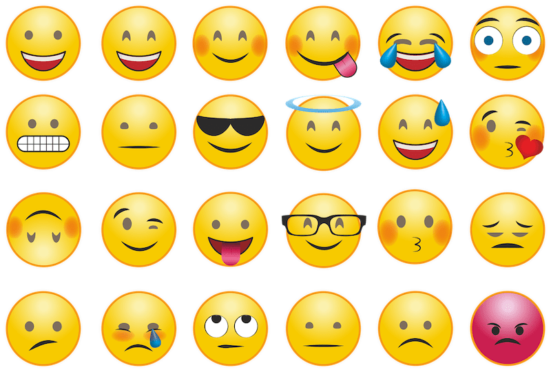 Grid of emoji faces expressing various emotions