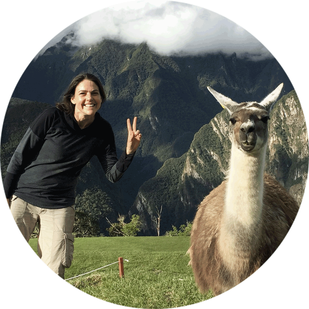 Author on the left, llama on the right.