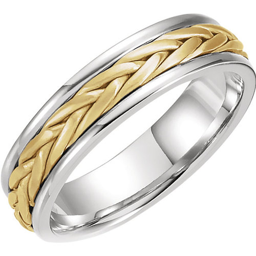 Woven Wedding Bands   Two Tone Woven Wedding Band J M Jewelry
