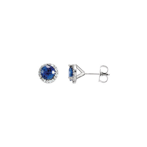 sapphire diamond silver and mk saphire sterling halo blue in earrings round