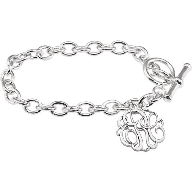 3 letter script monogram charm bracelet jm jewelry