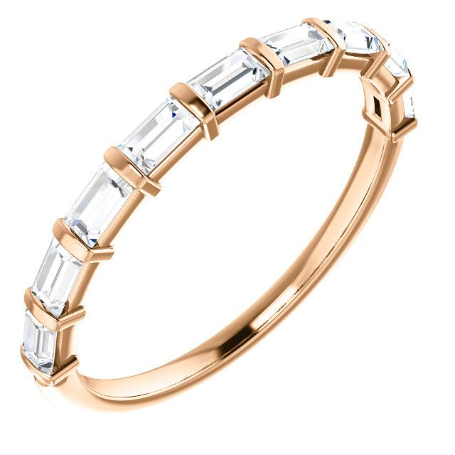 14K Gold Bar Set Baguette Diamond Wedding Band JM Jewelry