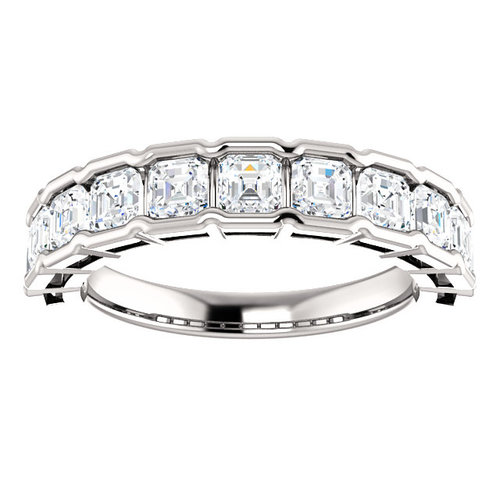 14K Gold Bezel Set Asscher Cut Diamond Wedding Band — J&M Jewelry