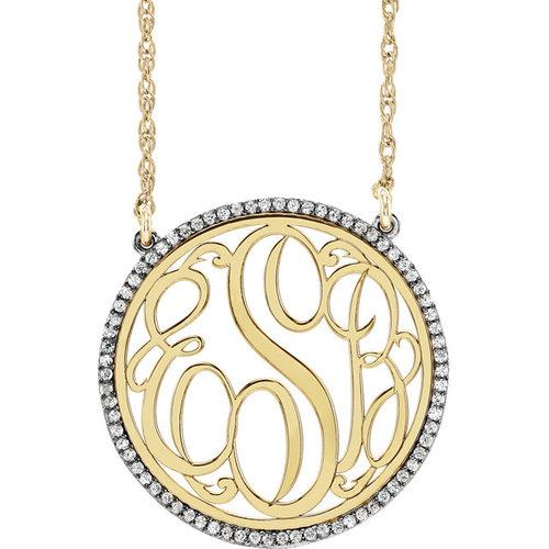 14k gold diamond monogram necklace jm jewelry 14k gold diamond monogram necklace mozeypictures Image collections