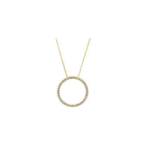 67be7e20e6 14K Gold Diamond Circle Necklace — Jewelry Wholesaler, Gemstone ...
