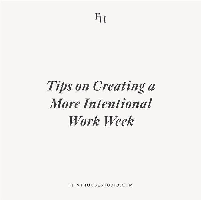 Our studio journal is live! ⠀⠀⠀⠀⠀⠀⠀⠀⠀ The start of a new year is the perfect time to reflect on all aspects of your business, take inventory of areas you'd like to improve, and implement changes that will better your business and help you achieve your goals. So for Flint House's first journal post of 2019, I wanted to provide a few tips on something that I feel could be helpful to many business owners as they take on the new year — creating a more intentional work week. ⠀⠀⠀⠀⠀⠀⠀⠀⠀ Give it a read by accessing our journal via the link in our profile. 🖤
