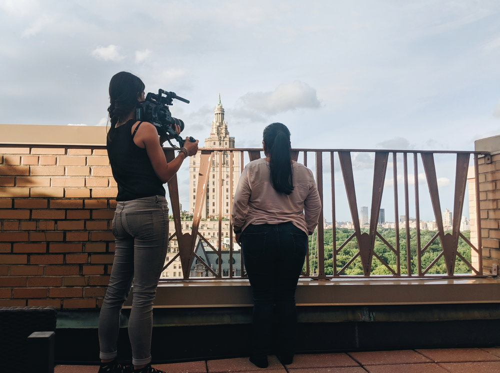 Etel V. looks over Central Park during one of our days filming her video for the gala.