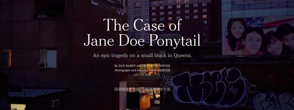 "The  New York Times'  ""The Case of Jane Doe Ponytail,"" by Dan Barry and Jeffrey E. Singer, published earlier this month."