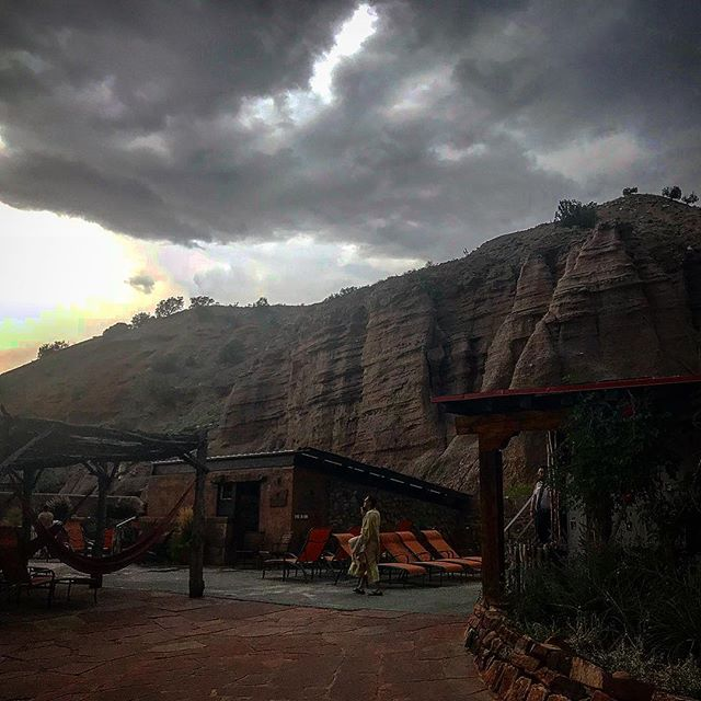 One of my favorite places on earth, made infinitely better by a rainstorm. #ojocaliente #newmexico #rain #thunderstorm #hammockzeit #ironpool #lithiumpool #arsenicpool