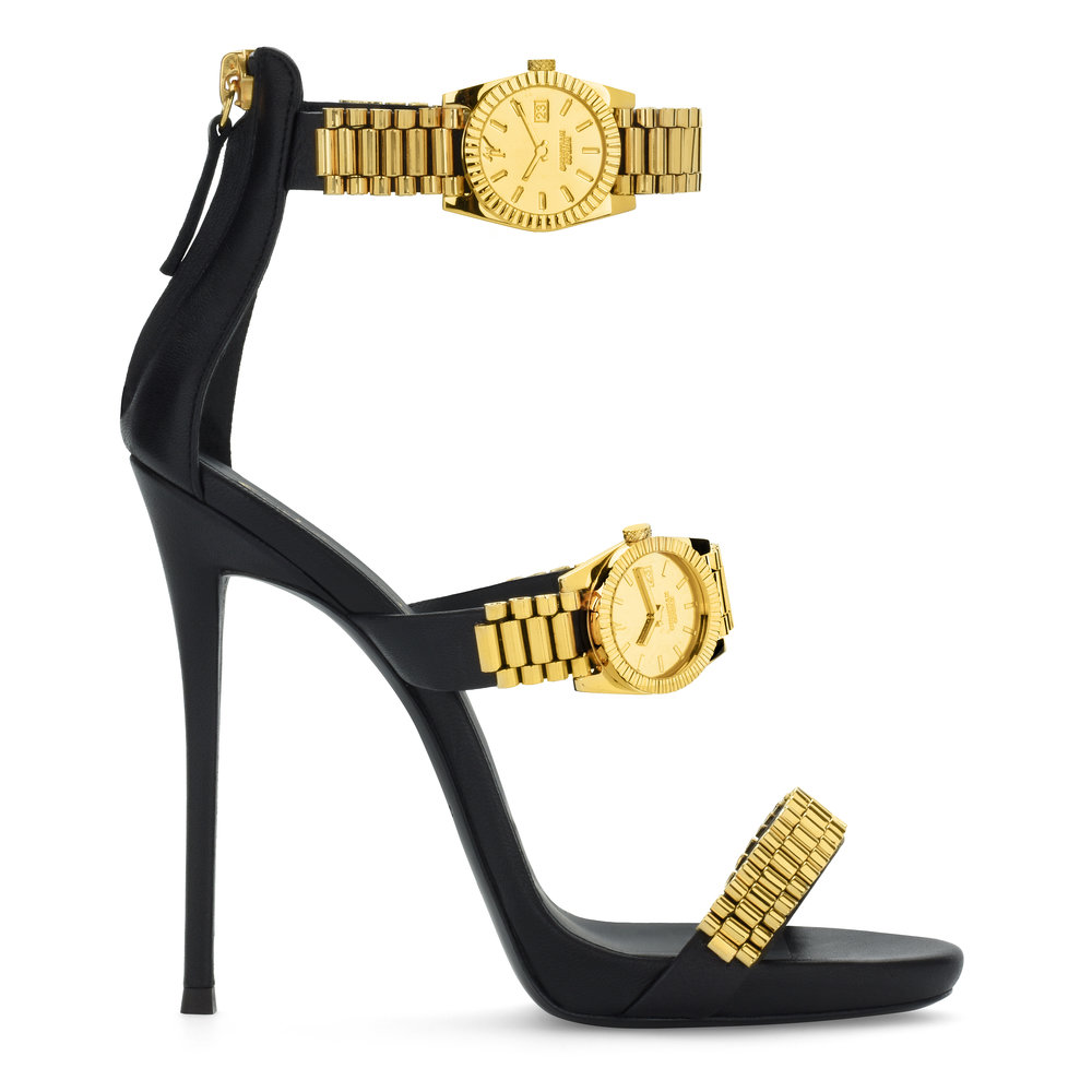 Black and Gold Three-Strap Heel