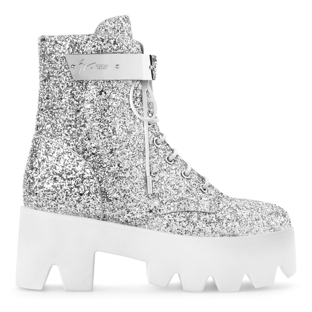 Silver Sequin Boot