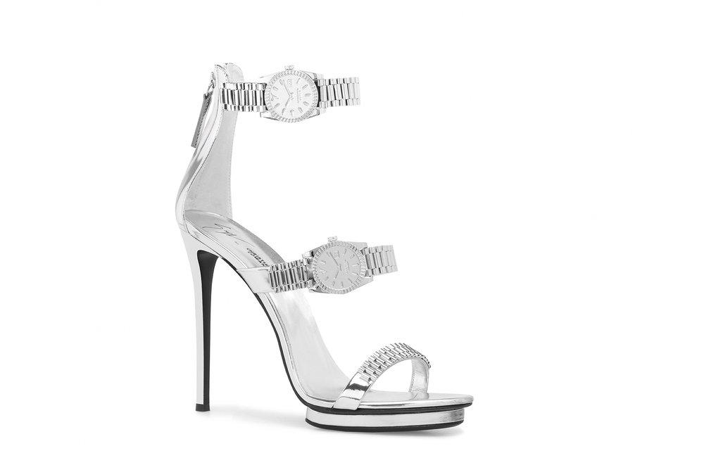Silver Three-Strap Heel. COMING JULY.