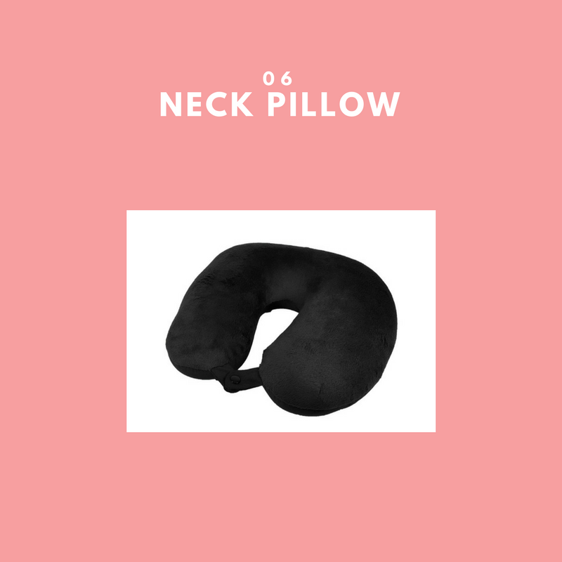 - Sleep is one of those things we catch up on, while on a flight. A neck pillow is a travel must have. This soft fleece neck pillow, allows you to have neck support and relax while trying to catch up on your zzz's. This Bed Bath & Beyond neck pillow has a clasp so it can hang perfectly inside or outside of your tote. It's definitely worth purchasing online for $10 as opposed to in the airport for $25.