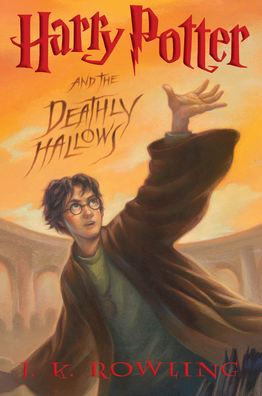 The original US cover art. Incidentally, I've always loved how the artwork for the  Potter  covers use a scene as a set piece to show off, although you couldn't figure out what until after you read the book. In this case, it's the finale!