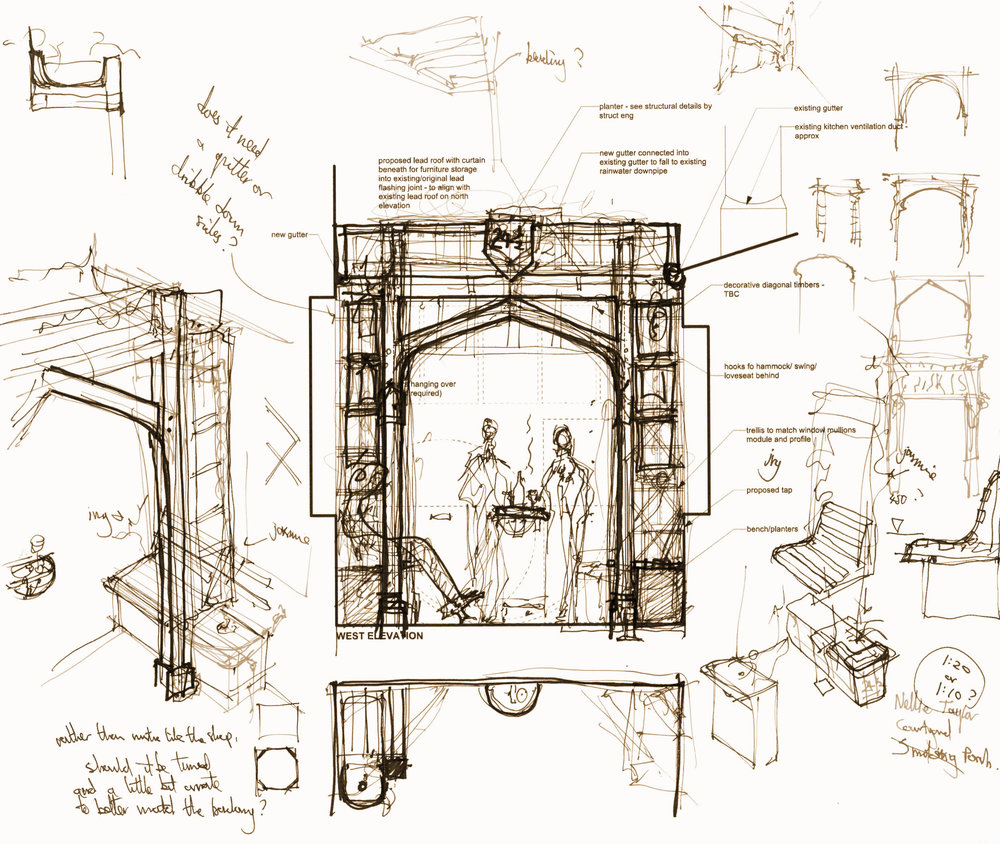 proposal sketch for courtyard