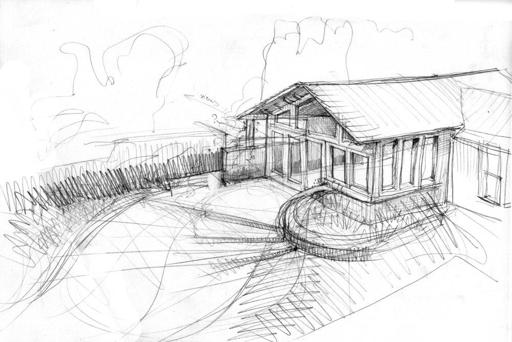 early design sketch exploring link to the rear gardenl