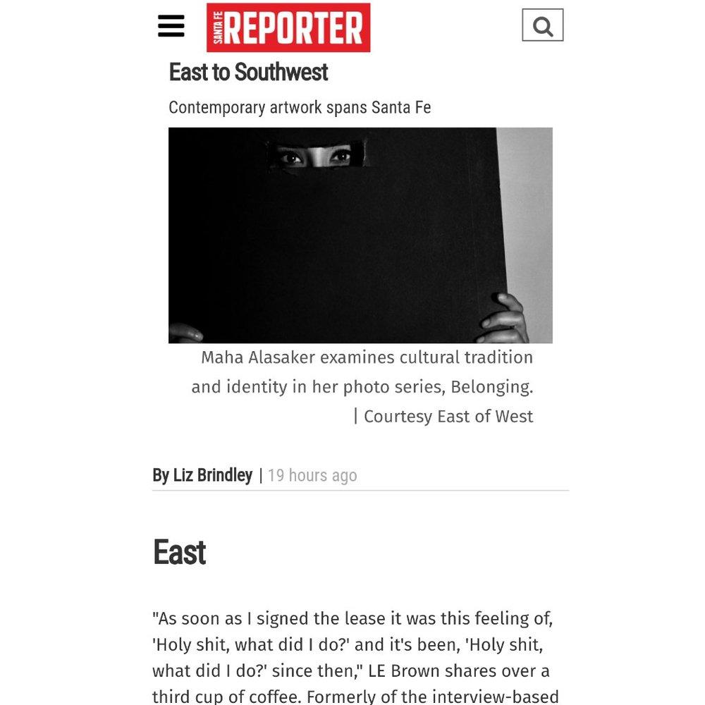 """<b><h2><a href=""""http://www.sfreporter.com/arts/2017/12/13/east-to-southwest/"""">SANTA FE REPORTER</b></h2></a>"""
