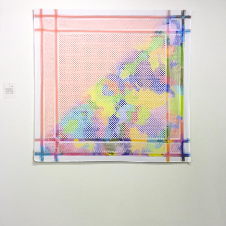 <b>Meshal Al-Obaidallah</b></br><i>Shimagh Ajyal</i></br>Digital print on silk</br>55 x 55 inches</br>$1,250.00