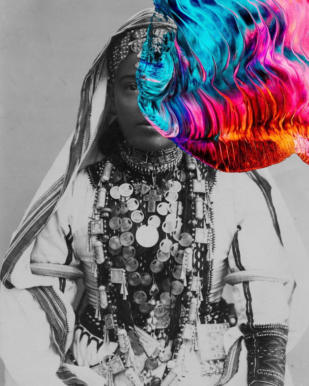 <b>Beya Khalifa</b></br><i>Scar Tissue II</i></br>Antique photograph and digital collage</br>Limited edition of 20</br>16 x 12 in