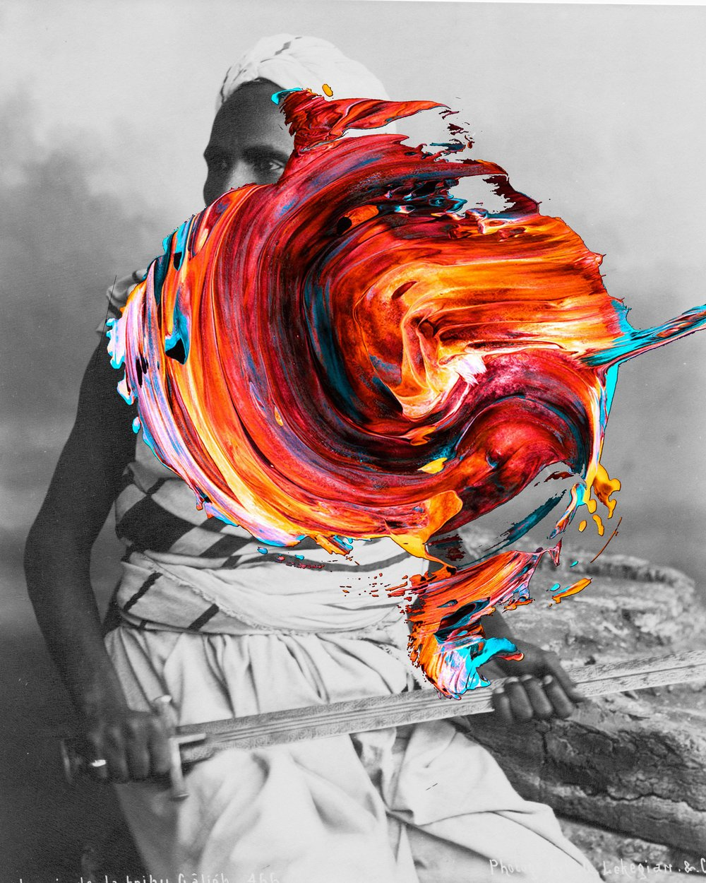 <b>Beya Khalifa</b></br><i>Scar Tissue IV</i></br>Antique photograph and digital collage</br>Limited edition of 20</br>16 x 12 in