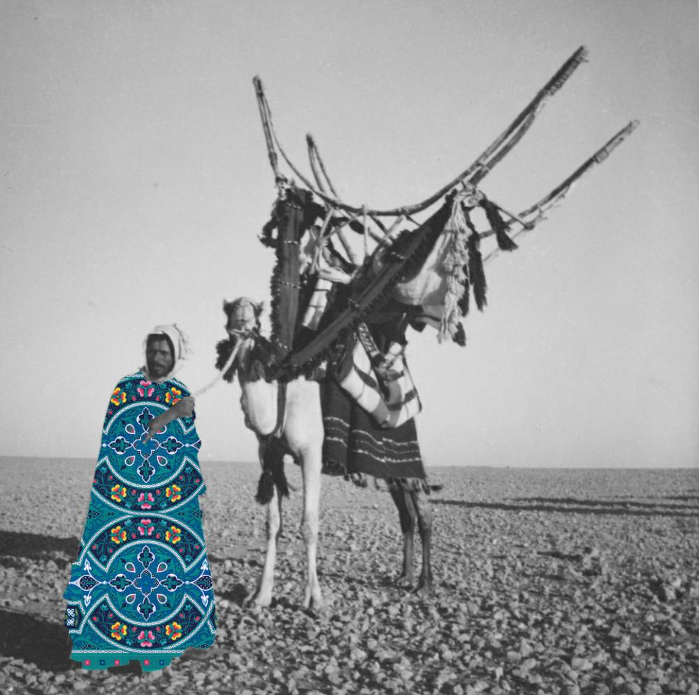 <b>Beya Khalifa</b></br><i>Association</i></br>Antique photograph and digital collage</br>Limited edition of 20</br>16 x 12 in