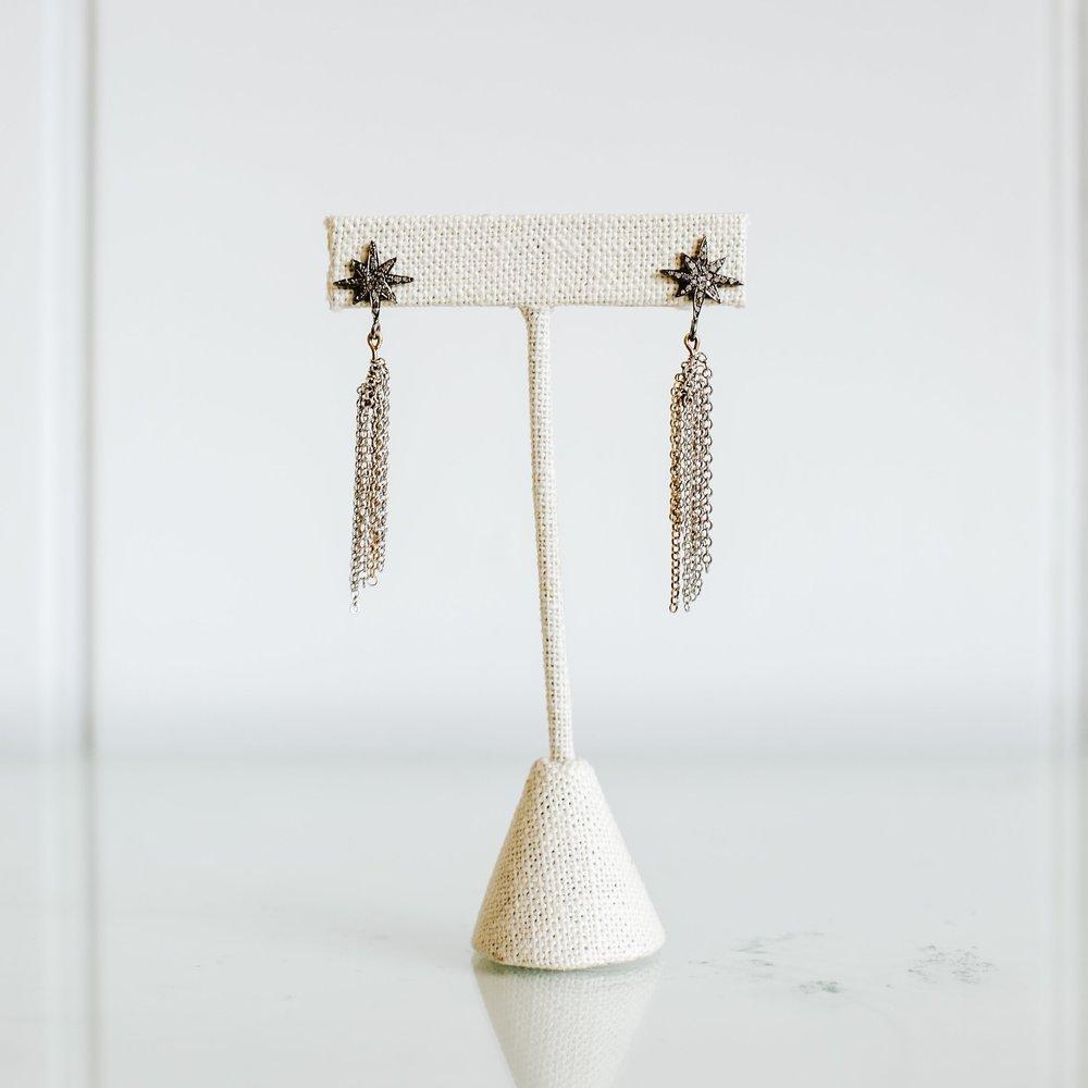 Gray Diamond Star Dangle Earrings