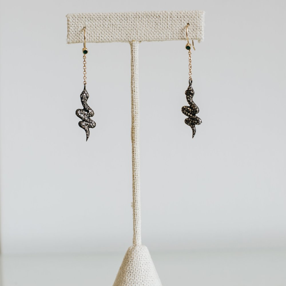 Oxidized Silver Gray Diamond Earrings