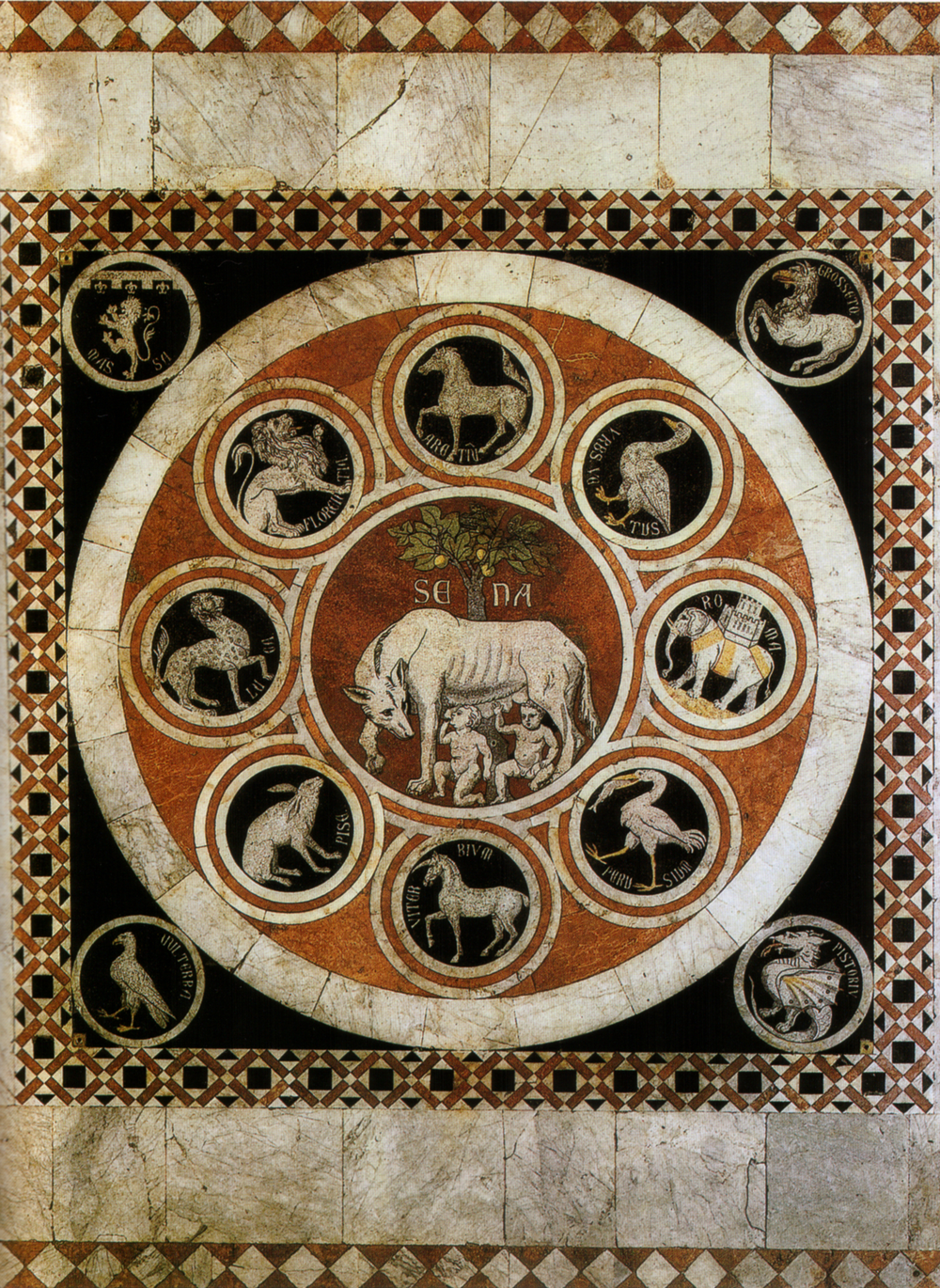 The She-Wolf of Siena with the emblems of the confederate cities, Cathedral of Siena, 1373