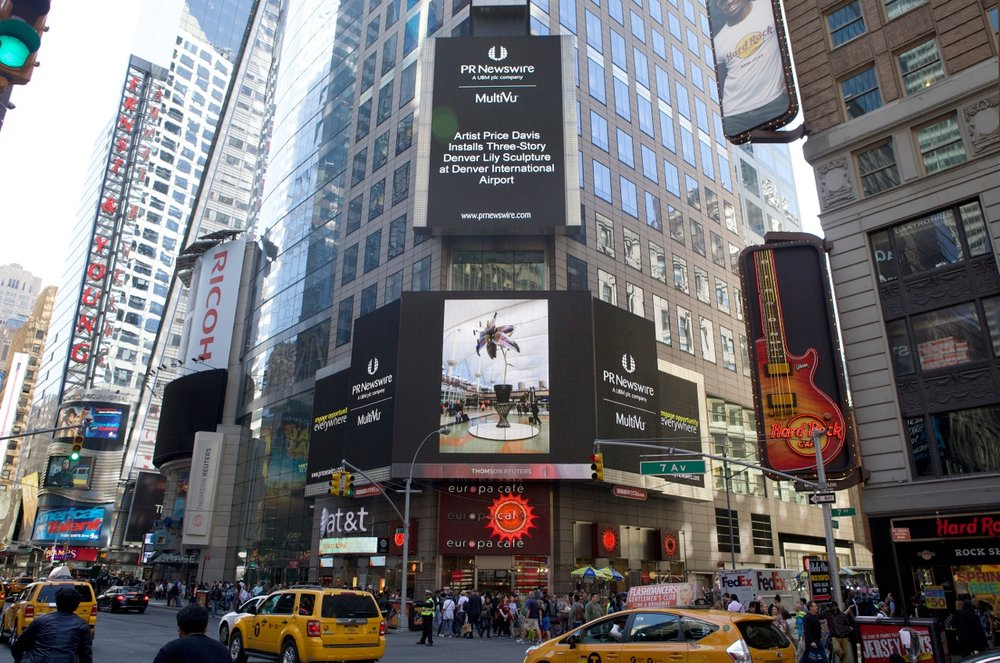 """Denver Lily"" sculpture installation was broadcasted in New York Times Square."