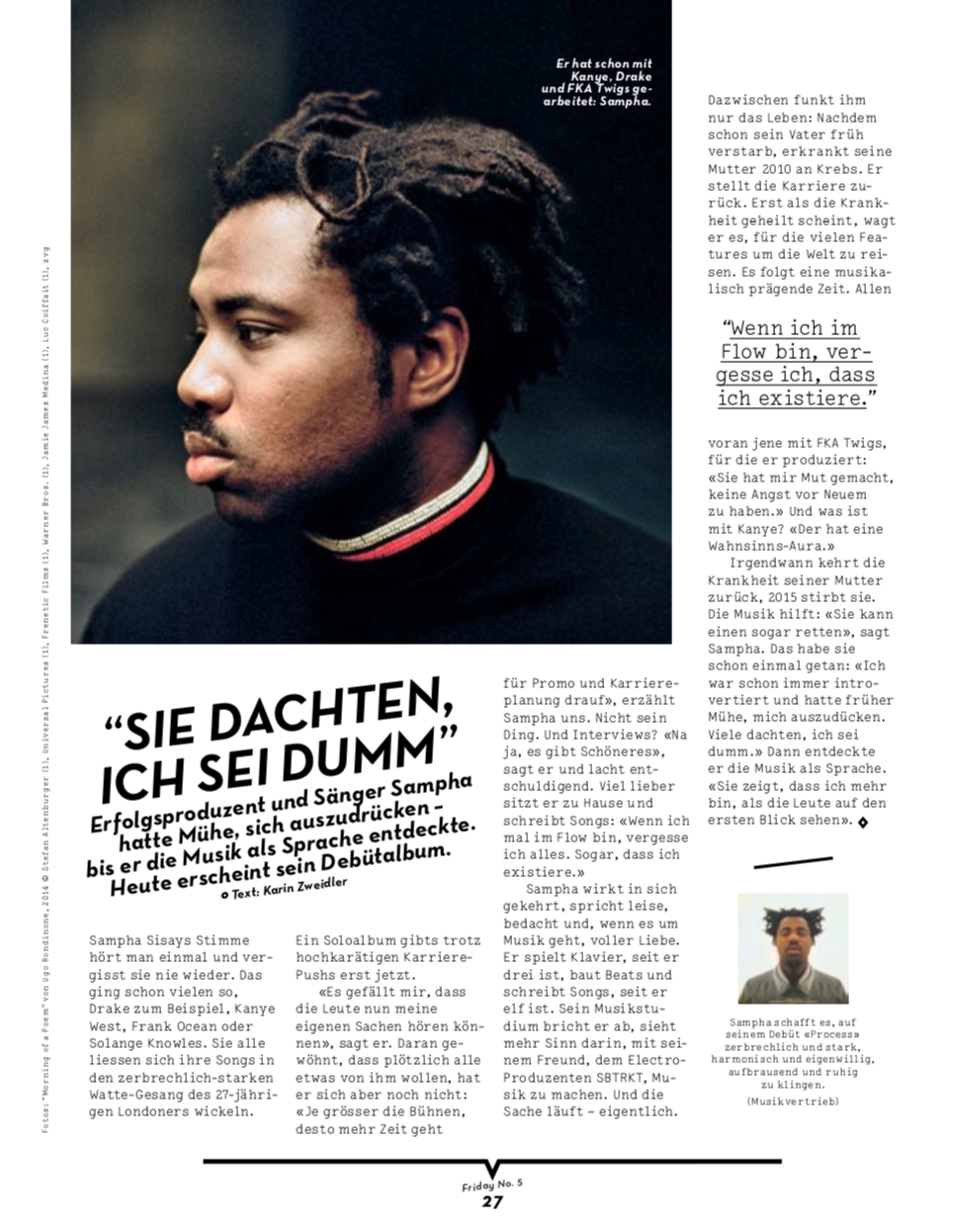 SAMPHA / FRIDAY MAGAZINE 2017 / PORTRAIT
