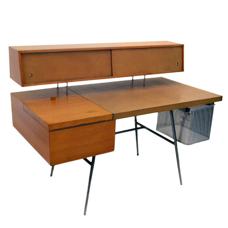 George Nelson Wood And Leather Office Desk For Herman Miller, USA, 1948