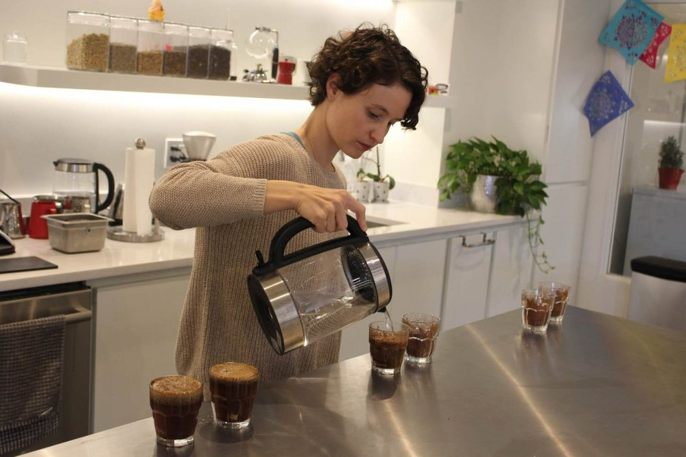 Rachel Langer prepares a cupping of three Red Rock coffees.jpg