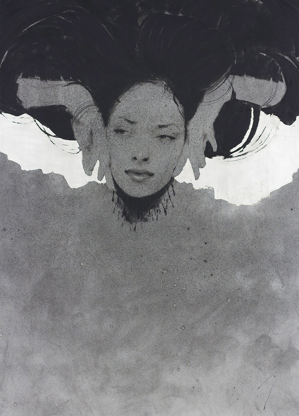 "Veil, Charcoal and silver leaf, 24x18"" (61x46 cm)"